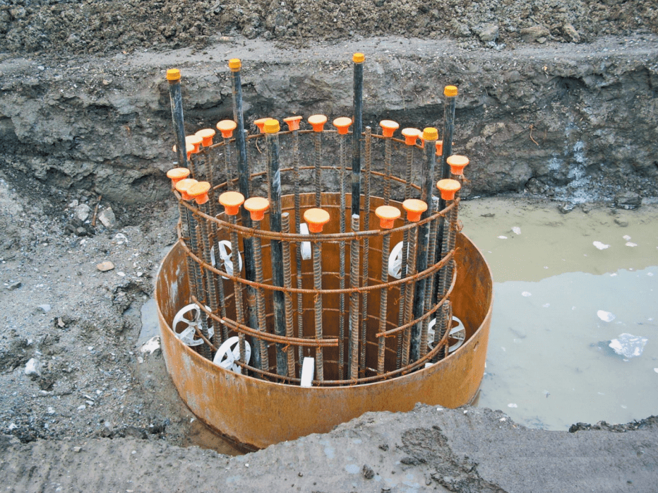 Cased shaft with spacers attached to reinforcing cage
