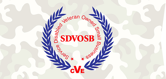 Service Disabled Veteran Owned Small Business (SDVOSB) logo, red text circled with blue laurels